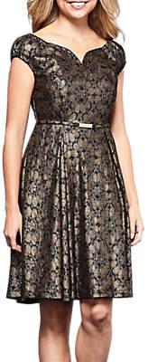 Yumi Foil Lace Dress, Black