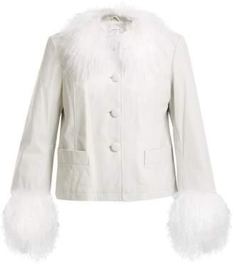SAKS POTTS Dorthe fur-trimmed leather jacket