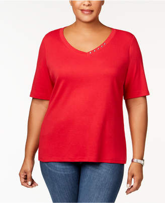Karen Scott Plus Size Button-Studded V-Neck Top, Created for Macy's