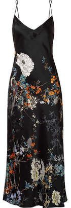 MENG - Floral-print Silk-satin Nightdress - Black