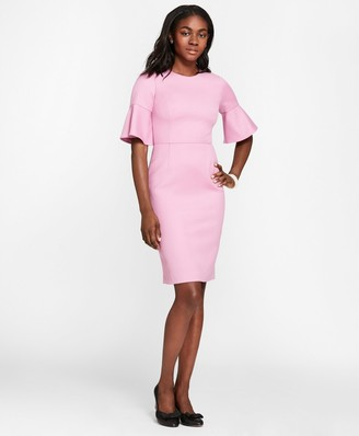 Brooks Brothers Stretch Wool-Blend Bell-Sleeve Sheath Dress