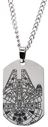 Star Wars Jewelry Episode 7 Millennium Falcon Laser Etched Dog Tag Pendant Necklace