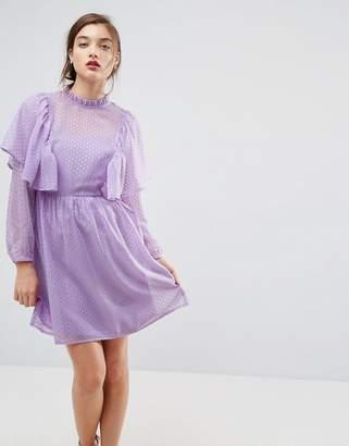 Asos DESIGN Metallic Spot Ruffle Smock mini dress
