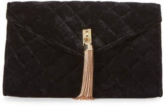 La Regale Black Velvet Tassel Convertible Clutch