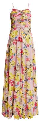 Etro Cassiopea Floral Print Ruched Maxi Dress - Womens - Pink Print