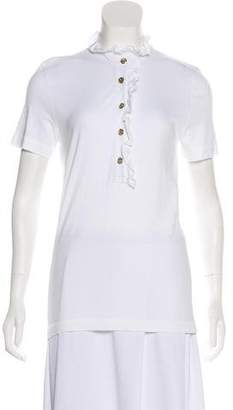Tory Burch Ruffle-Accented Short Sleeve Top
