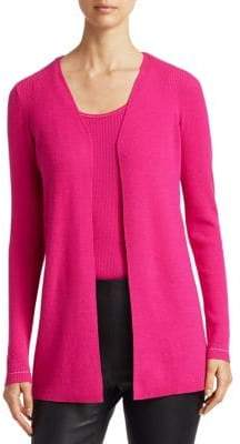 Saks Fifth Avenue Ribbed Wool Open Cardigan