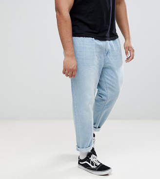 Asos DESIGN PLUS Double Pleat Jeans In Light Wash Blue