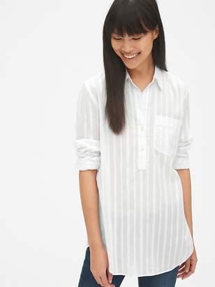 Gap Boyfriend Stripe Popover Tunic Shirt