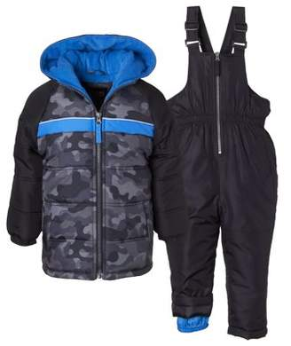 iXtreme Camo Puffer Jacket Coat & Snowpants Ski Bib, 2pc Snowsuit Set (Baby Boys & Toddler Boys)
