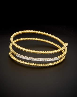 14K Italian Gold 0.45 Ct. Tw. Diamond Wrap Around Goose Bangle
