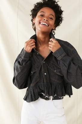 Urban Renewal Vintage Recycled Button-Down Peplum Chambray Shirt