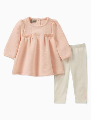 Calvin Klein girls 2-piece bow textured tunic + solid leggings