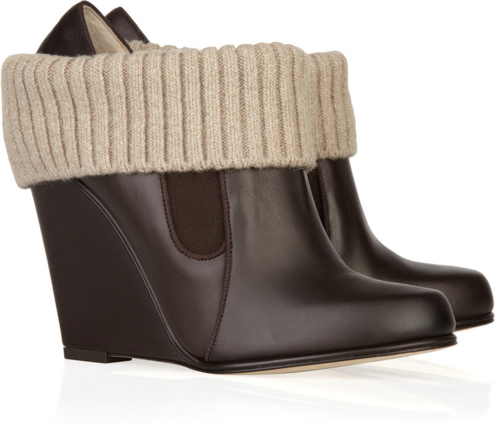Bally Deidra wool and leather wedge ankle boots