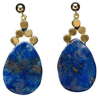 Brass Fusion Russian Lapis and Brass Cube Earrings