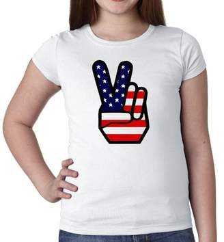 Hollywood Thread Peace Sign - Hand & Fingers with USA Flag Together Girl's Cotton Youth T-Shirt