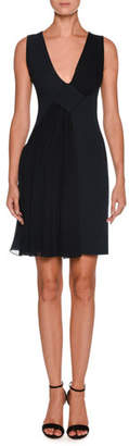 Giorgio Armani V-Neck Sleeveless Crepe Short Dress w/ Chiffon Ruching