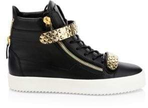 Giuseppe Zanotti Leather High-Top Double Strap Sneakers