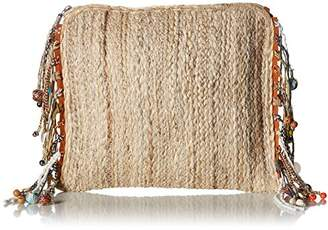 Steve Madden Netty Festival Straw Clutch Crossbody with SEA Shell Wooden
