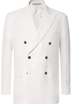 Freemans Sporting Club - White Double-breasted Herringbone Linen Suit Jacket - Ivory