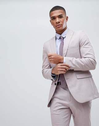 Burton Menswear Slim Fit Textured Suit Jacket In Pink
