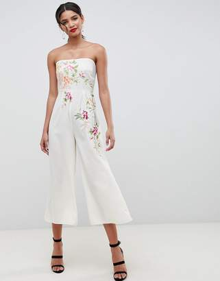 Asos Design DESIGN Bandeau Jumpsuit With Embroidery