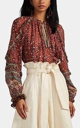 Ulla Johnson Women's Calista Tapestry-Print Georgette Blouse - Md. Red