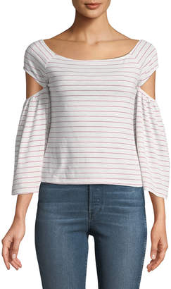 Free Generation Off-The-Shoulder Striped Cutout Tee