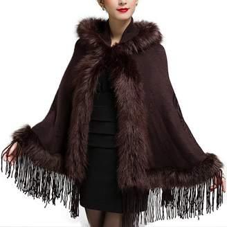 FashionRun Women's Fashion Faux Fur Shawl Wraps Cloak Bridal Hoodie Coat Tassel