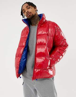 Asos DESIGN puffer jacket in high shine in red