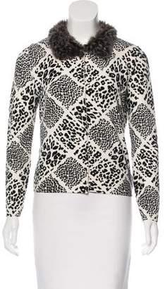 Blugirl Fur-Trimmed Leopard Print Cardigan