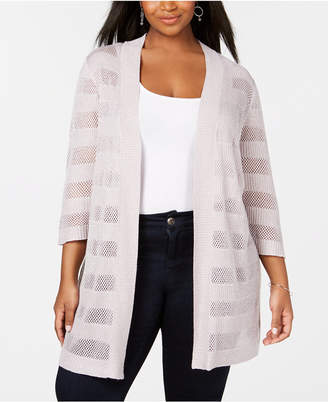 Belldini Plus Size Mesh & Metallic Stripe Duster Cardigan