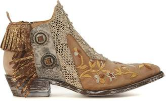 BEIGE Mexicana Corus Leather Ankle Boots With Fringes And Floral Embroidery