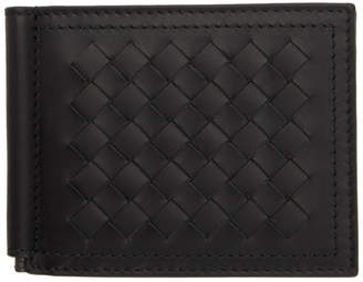 Bottega Veneta Black Intrecciato Money Clip Wallet