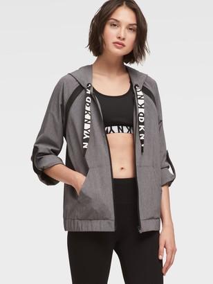 DKNY Roll-Tab Hoodie With Logo Drawstring