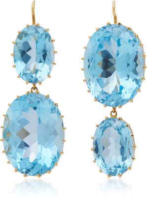 Renee Lewis 18K Gold And Blue Topaz Earrings