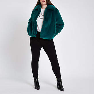River Island Plus teal blue plush faux fur coat