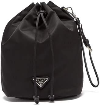 Prada Leather-trimmed drawstring nylon wash bag