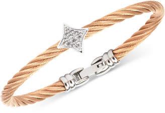 Charriol Women's Debutante White Topaz Two-Tone Bangle Bracelet (5/8 ct. t.w.) in Stainless Steel & Rose Gold-Tone Pvd