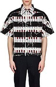 Prada Men's Lipstick-Striped Cotton Bowling Shirt - White