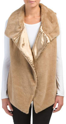 Sleeveless Open Front Faux Fur Vest