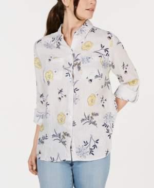 53bb70296b4d1 Charter Club Linen Floral-Print Utility Shirt