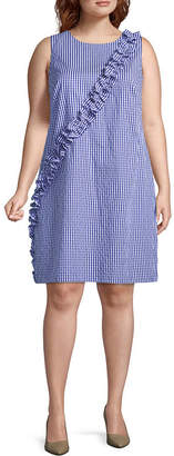 London Times Sleeveless Gingham Shift Dress - Plus