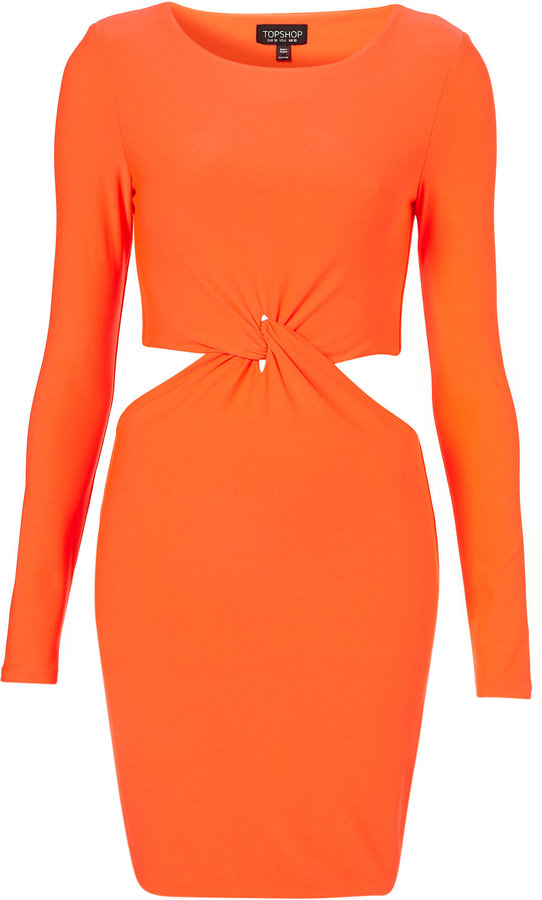 Fluro Twist Cutout Bodycon Dress