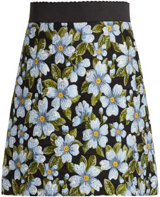 Dolce & Gabbana Floral-jacquard A-line skirt