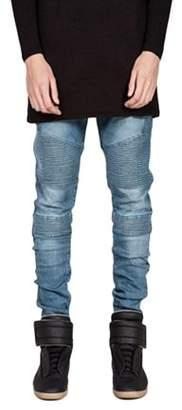 Men Casual Fashion Trendy Designed Straight Slim Fit Jeans Pant Denim Trousers Elastic Jeans Pencil Pants