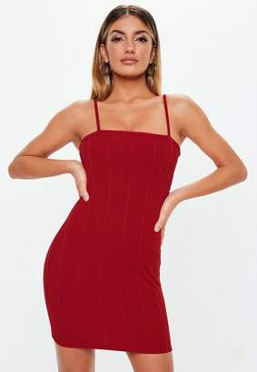 Missguided Red Strappy Square Neck Bandage Bodycon Dress, Red
