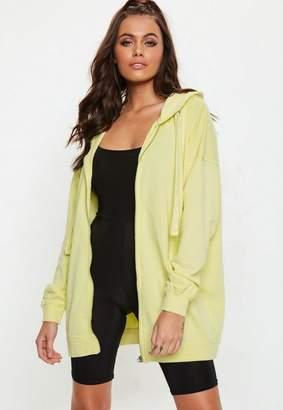 Missguided Yellow Oversized Zip Through Hoodie