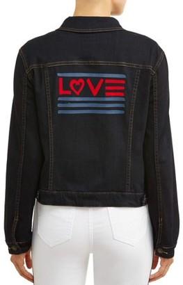 406953004a0 Ev1 From Ellen Degeneres Love Flag Denim Jacket Women's (Dark Wash)