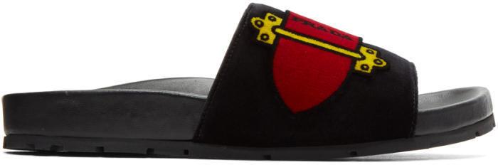 Prada Black Velvet Belt Slides